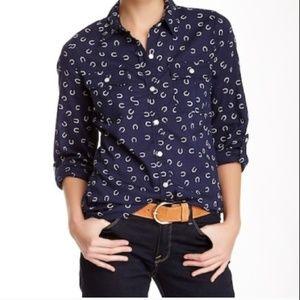 Lucky Brand horseshoe print blue button down shirt